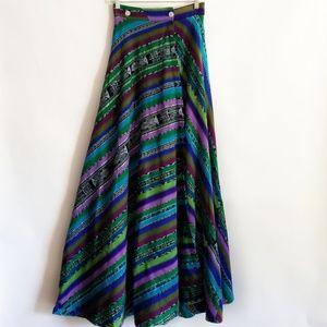 Vintage Western Boho Serape Maxi Skirt Size 2/26